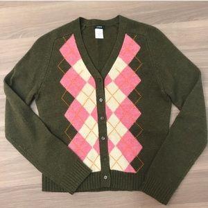 J. Crew Argyle Button Down Sweater